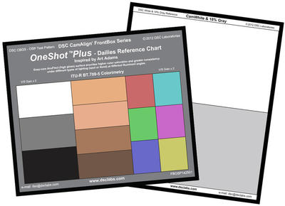 DSC Labs FBOSP FrontBoxOneShot Plus  6 Colors, 4 SkinTones, White, Black and 18% gray patches, CamWh