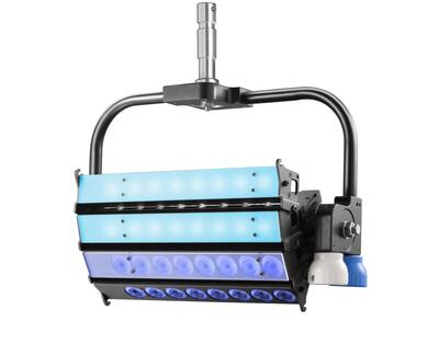 VELVET CYC 4 color STUDIO asymmetrical articulated LED with on-board AC control + yoke
