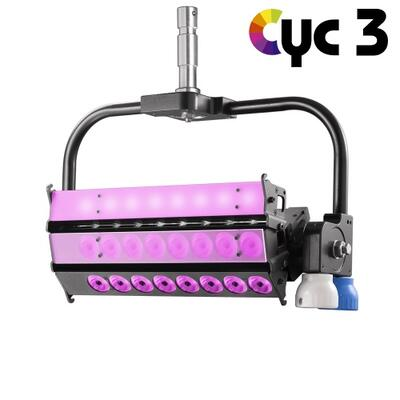 VELVET CYC 3 color STUDIO asymmetrical articulated LED with on-board AC control + yoke