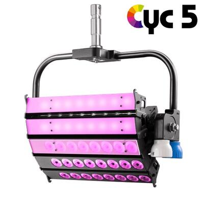 VELVET CYC 5 color STUDIO asymmetrical articulated LED with on-board AC control + yoke
