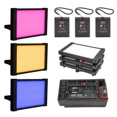 CAME-TEV P-1200R-3 - 3pcs CAME-TV Boltzen Perseus RGBDT 55W Travel Lights that are Stackable and Rea