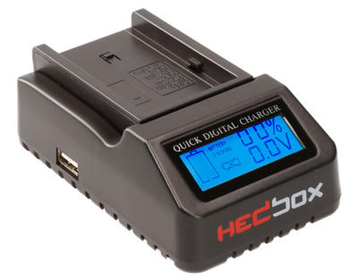 Hedbox RP-DC40 | Digital LCD Battery Charger, Compatible with Sony NP-F330, NP-F530, NP-F550, NP-F75